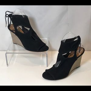 Aquazzura Sexy Thing Wedge Sandal Black New